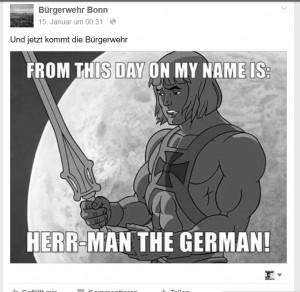 Auch wenn sie nicht rechts sein wollen: Mit der Stilisierung zum deutschen Superhelden hat die Bürgerwehr Bonn offenbar kein Problem